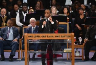 Rev. Al Sharpton speaks during Aretha Franklin's funeral at Greater Grace Temple on August 31, 2018 in Detroit, Michigan. (Photo by Angela Weiss / AFP) (Photo credit should read ANGELA WEISS/AFP/Getty Images)